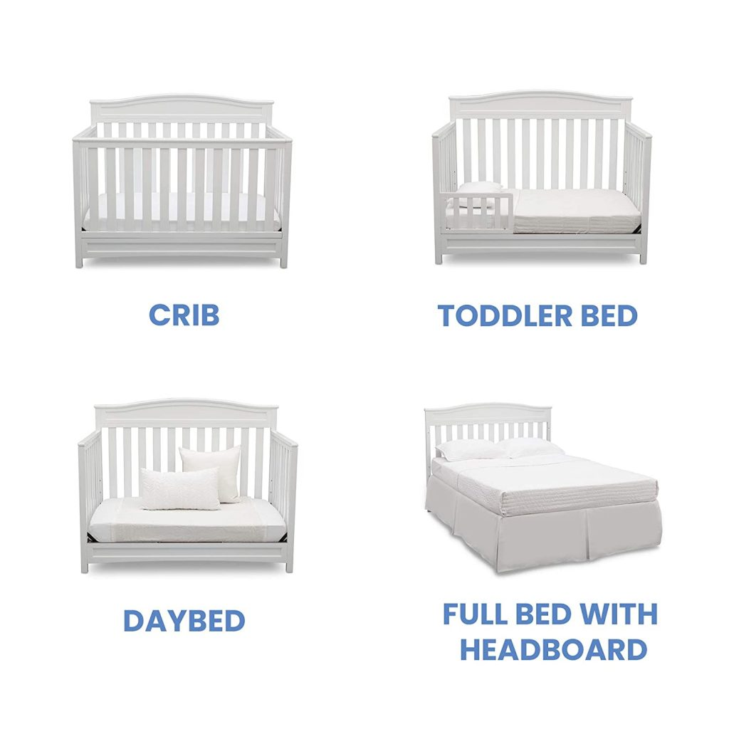 picture of all 4 configurations for the delta children emery baby crib